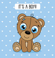 cute bear with blue background vector image vector image