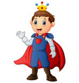 cute boy with prince costume vector image vector image