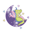 cute dragon on moon vector image