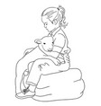 cute kid line art vector image vector image