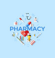 digital blue pharmacy medical icons vector image vector image