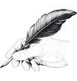 drawing hand with a feather pen vector image