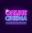 electric sign online cinema neon font vector image