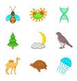 eternal wildlife icons set cartoon style vector image vector image