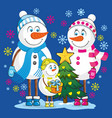 family snowmen vector image vector image