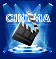film premiere poster with clapper board on stage vector image vector image