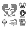 first aid or injury care medical center and family vector image