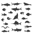 Fish black silhouettes icons vector image