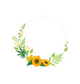 Floral circle frame with leaves sunflowers and