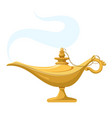 genie lamp with smoke magic antique wish aladdin vector image vector image