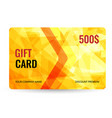 gift card bright design with gold background of vector image vector image
