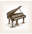 Grand piano hand drawn sketch style vector image vector image