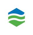 hexagonal landscape logo vector image