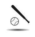 icon baseball ball and bit with shadow vector image vector image