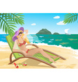 Lady Lounging on the Beach vector image vector image