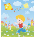 little boy playing with a kite vector image