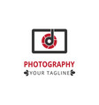 logo design with camera and letter d vector image