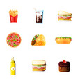 lunch hot dog french fries icons set soda vector image
