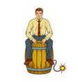 man on powder keg pop art vector image vector image