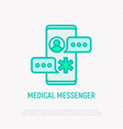 medical messenger thin line icon vector image vector image