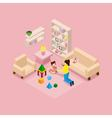 Mother And Daughter Playing Isometric Banner vector image vector image