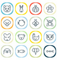 nature icons set collection of bear trunked vector image vector image