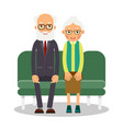 on the sofa sit elderly man and woman family vector image