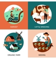 Organic Farm 4 Flat Icons Banner vector image