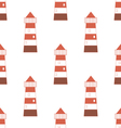 Pattern with red-white lighthouse vector image vector image