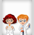 plain background with boy and girl in science gown