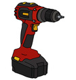 Red cordless screwdriver vector image
