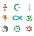 religious sign icon set cartoon style vector image vector image