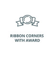 ribbon corners with award line icon linear vector image vector image
