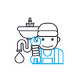 sanitary technician thin line stroke icon vector image