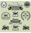 set of labels with a tractor for livestock and cro vector image vector image