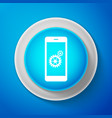 setting on smartphone icon mobile phone and gear vector image vector image