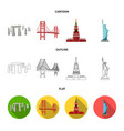 sights of different countries cartoonoutlineflat vector image vector image