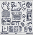 sketch work style sketch work set icon set 2 vector image vector image