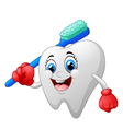 Smiling healthy white tooth cartoon character vector image