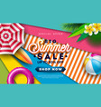 summer sale design with beac ball sunshade and vector image vector image