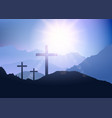 sunset landscape with cross for easter vector image vector image