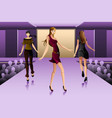 supermodels walking on a runway show vector image