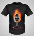 t shirts Black Fire Print man 25 vector image vector image