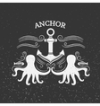 Vintage label anchor and octopus vector image vector image
