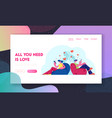virtual relations and love website landing page vector image vector image