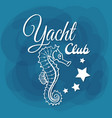 white lettering yacht club seahorse vector image vector image