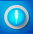 white usb cable cord icon on blue background vector image vector image