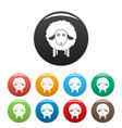 wow sheep icons set color vector image