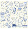 breakfast doodles vector image