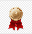 3 place winner bronze medal award ribbon vector image vector image